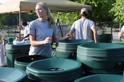CAC AmeriCorps distributing rain barrels, 2012-2013