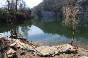 Completed stone bank stabilization structure at Mead's Quarry.
