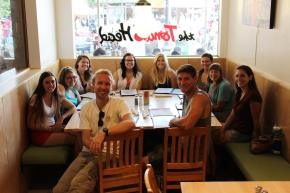 Members eat at a local restaurant during orientation.
