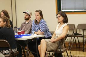 Alums attend orientation to speak with current members.