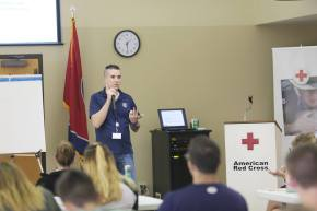Staff providing training on disaster response.